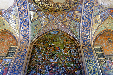 Fresco of the banquet hall, Chehel Sotoun Palace (Forty Columns), Isfahan, Iran, Middle East