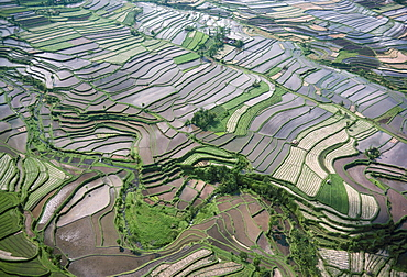 Aerial view of the eastern region of the island of Bali, Indonesia, Southeast Asia, Asia