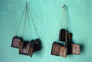 Painted Christian items, Axoum (Axum) (Aksum), Tigre region, Ethiopia, Africa