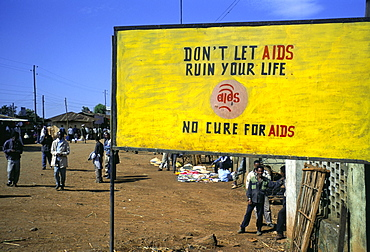 AIDS sign in the village of Gimbii, Oromo country, Welega state, Ethiopia, Africa