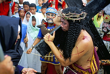 Christ of Calvary in Easter procession, Morionnes, island of Marinduque, Philippines, Southeast Asia, Asia