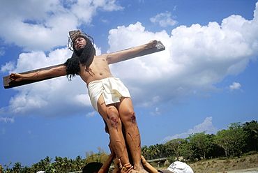 Crucifixion, Christ of Calvary, Easter procession, Morionnes, island of Marinduque, Philippines, Southeast Asia, Asia