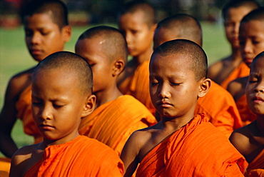 Portrait of a group of young Buddhist monks (novices) meditating, Bangkok, Thailand, Southeast Asia, Asia