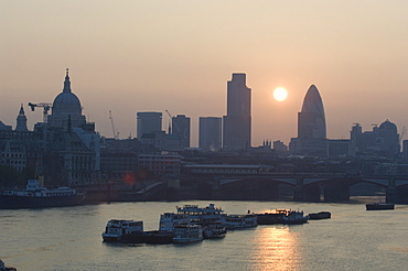 Sunrise over the City of London and River Thames, London, England, United Kingdom, Europe