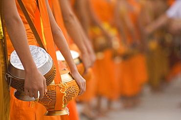 Monks at the Meekong River, Laos, Asia
