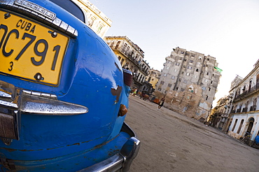 Blue car on square, Havana, Cuba, West Indies, Central America