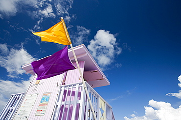 Two flags, Life Guard Tower, Miami Beach, Florida, United States of America, North America