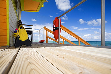 Decking of Life Guard Tower, Miami Beach, Florida, United States of America, North America