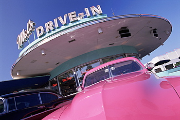 Pink car in front of Mel's Drive-In, Universal Studios, Orlando, Florida, United States of America (U.S.A.), North America