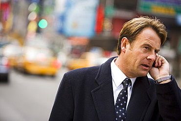 Business man on phone, New York, United States of America, North America