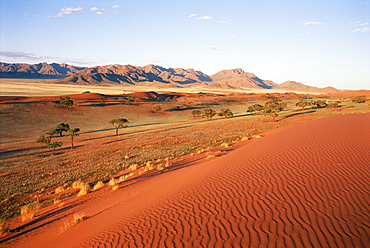 Ripples in the sand and arid landscape, Namib Rand Park, Namibia, Africa