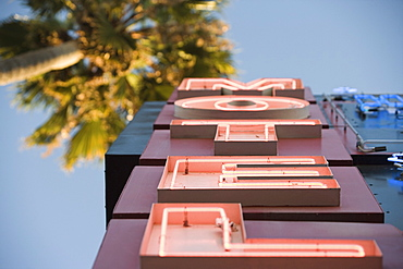 Neon motel sign, Hollywood, Los Angeles, California, United States of America, North America
