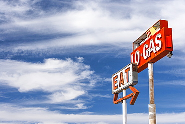 Gas Station sign, Baker, Nevada, United States of America, North America