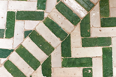 Tiled floor in a Riad, Marrakech, Morocco, North Africa, Africa