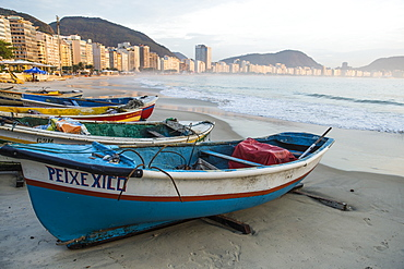 Fishing boats on Copacabana Beach, Rio de Janeiro, Brazil, South America