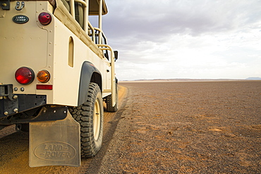 Land Rover in the Namib Desert, Namib Rand Nature Reserve, Namibia, Africa
