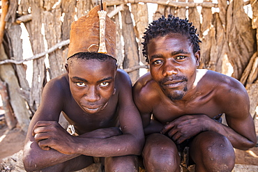 Two men from the Himba tribe, North Namibia, Namibia, Africa
