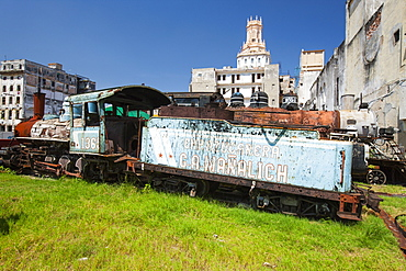 Rusting steam train, Havana, Cuba, West Indies, Caribbean, Central America