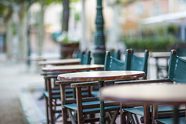 Early morning cafe, St. Tropez, Var, Provence, Cote d'Azur, France, Europe