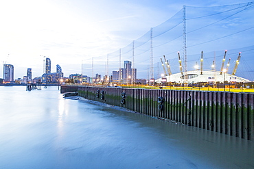 River Thames and O2 Arena, Docklands, London, England, United Kingdom, Europe