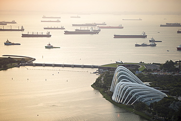 Gardens by the Bay and Merchant Shipping, Singapore, Southeast Asia, Asia