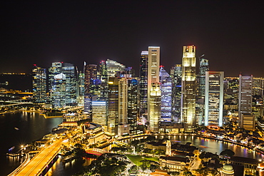 Financial District at night, Singapore, Southeast Asia, Asia