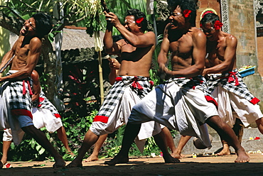 A group of Barong dancers, island of Bali, Indonesia, Southeast Asia, Asia