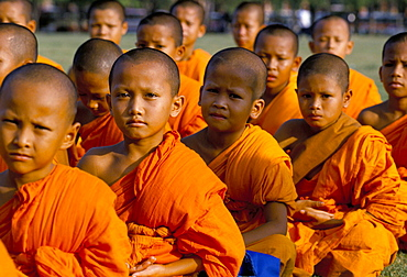 Portrait of a group of young Buddhist monks (novices) sitting outside, Bangkok, Thailand, Southeast Asia, Asia