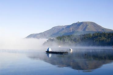 Misty mountain, lake Ashi (Ashiko), Hakone, Kanagawa prefecture, Japan, Asia