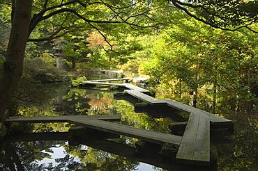 Pond and walkway in Oyama jinja shrine, Kanazawa, Ishikawa prefecture, Japan, Asia