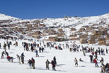 skiers, Oukaimeden ski resort, Morocco, North Africa