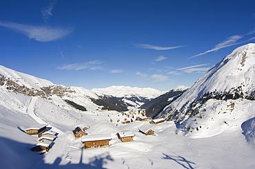 huts, Hintertux glacier, Mayrhofen ski resort, Zillertal Valley, Austrian Tyrol, Austria
