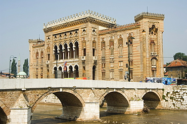 Old Town Hall, The National and University Library Austro-Hungarian Building, Sarajevo, Bosnia, Bosnia-Herzegovina, Europe