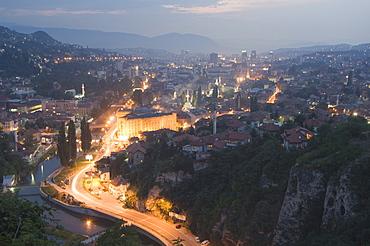 Panoramic night view of the city, Sarajevo, Bosnia, Bosnia-Herzegovina, Europe