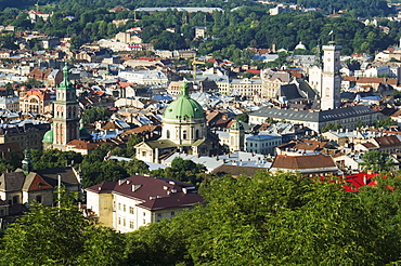 Old Town including Dominican church and monastery, Town Hall, and Assumption church bell tower dating from 1591-1629, seen from Castle Hill, UNESCO World Heritage Site, Lviv, Ukraine, Europe