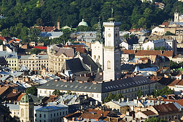 Old Town including Town Hall, seen from Castle Hill, UNESCO World Heritage Site, Lviv, Ukraine, Europe