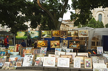Paintings for sale at Flea Market, Old Town, UNESCO World Heritage Site, Lviv, Ukraine, Europe