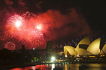New Years Eve 2006, 75th Diamond Anniversary Firework Celebrations, Opera House and Sydney Harbour, Sydney, New South Wales, Australia, Pacific