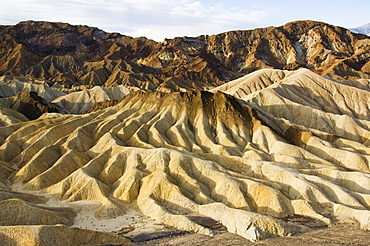Early morning light on corrugated badlands landscape at Zabriskie Point, Death Valley National Park, California, United States of America, North America