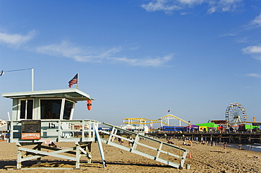 Life Guard watch tower, Santa Monica Beach, Los Angeles, California, United States of America, North America