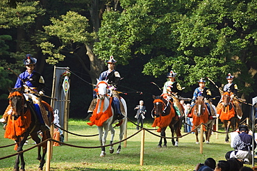 Procession of archers preceding a Horse Back Archery Competition (Yabusame), Harajuku District, Tokyo, Honshu Island, Japan, Asia