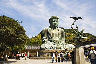 Daibutsu, Big Buddha, built in 1252 weighing 121 tons, Kamakura City, Kanagawa Prefecture, Honshu Island, Japan, Asia
