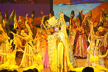 Tang Dynasty dance dating from between 618 and 907AD and Music Show at the Sunshine Grand Theatre, Xian City, Shaanxi Province, China, Asia