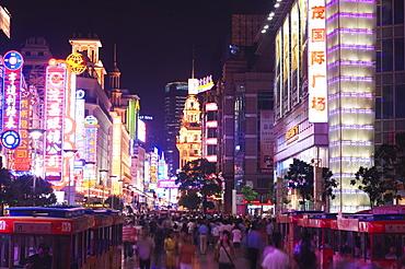 Nanjin Donglu neon lit shopping district, Shanghai, China, Asia