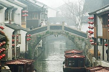 Traditional old riverside houses in Shantang water town, Suzhou, Jiangsu Province, China, Asia