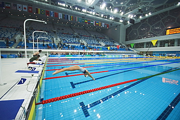 The Water Cube National Aquatics Center swimming arena in the Olympic Park, Beijing, China, Asia