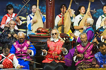 Musicians in a traditional Naxi orchestra, Lijiang Old Town, UNESCO World Heritage Site, Yunnan Province, China, Asia