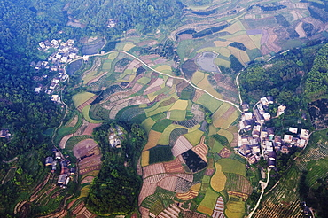 Aerial view from a hot air balloon of rice fields and villages in Yangshuo, near Guilin, Guangxi Province, China, Asia
