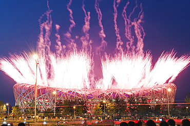 Fireworks on the Birds Nest National Stadium during the opening ceremony of the 2008 Olympic Games, Beijing, China, Asia