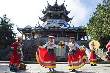 Girls dancing in traditional costume, Zhangjiajie Forest Park, Wulingyuan Scenic Area, UNESCO World Heritage Site, Hunan Province, China,  Asia